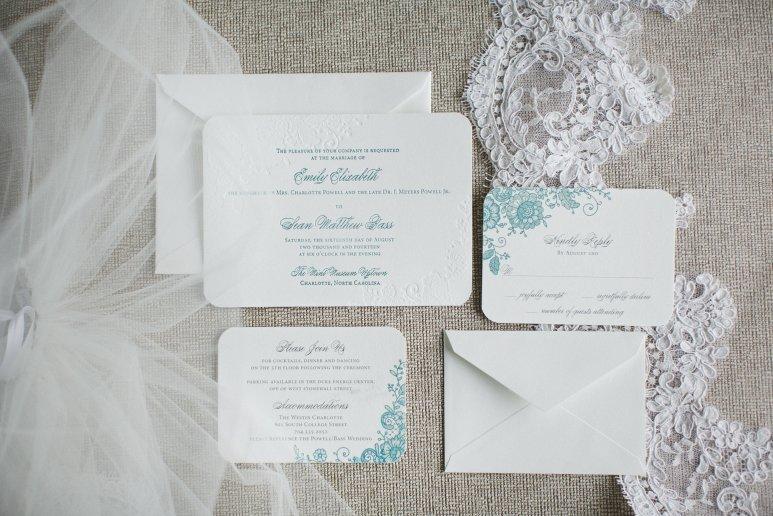 Letterpress Invitation - Wedding featured in Charlotte Magazine September 2015