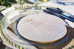 8-inch round menu die-cut to fit in a charger
