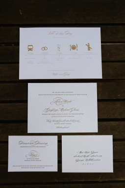 Gold Letterpress Wedding Invitation with Blind Monogram - Wedding Day-of schedule of events