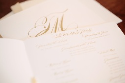 Beautiful gold engraved wedding invitation suite